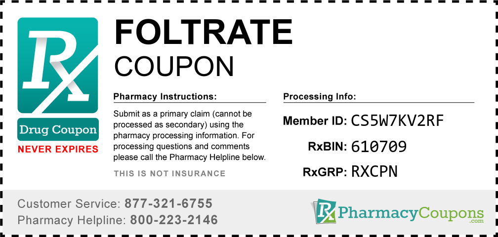 Foltrate Prescription Drug Coupon with Pharmacy Savings