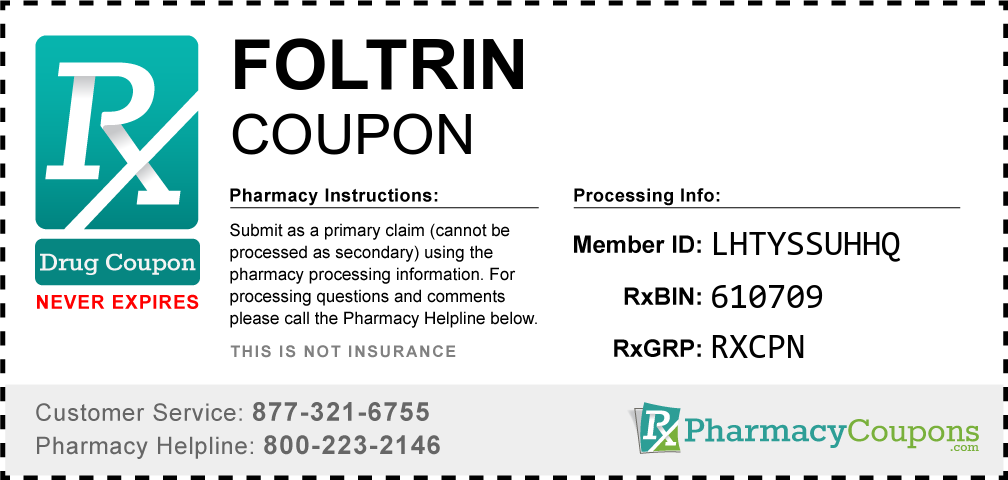 Foltrin Prescription Drug Coupon with Pharmacy Savings