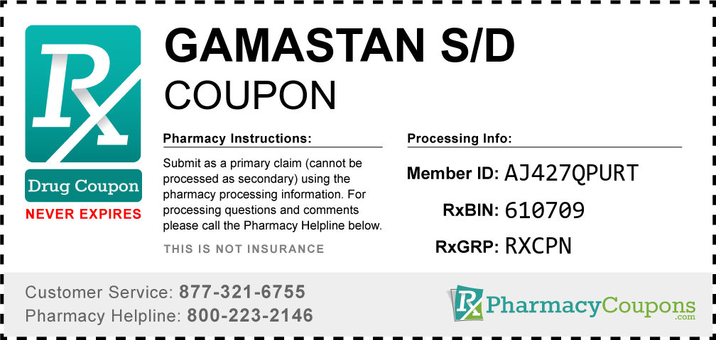 Gamastan s/d Prescription Drug Coupon with Pharmacy Savings