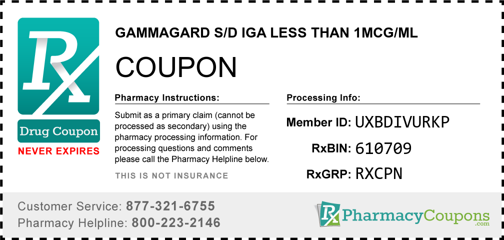 Gammagard s/d iga less than 1mcg/ml Prescription Drug Coupon with Pharmacy Savings