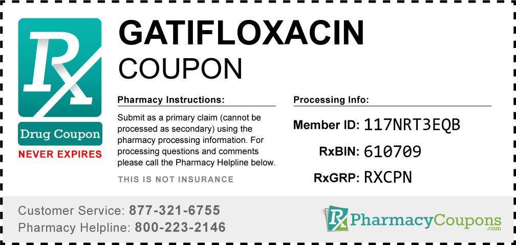 Gatifloxacin Prescription Drug Coupon with Pharmacy Savings