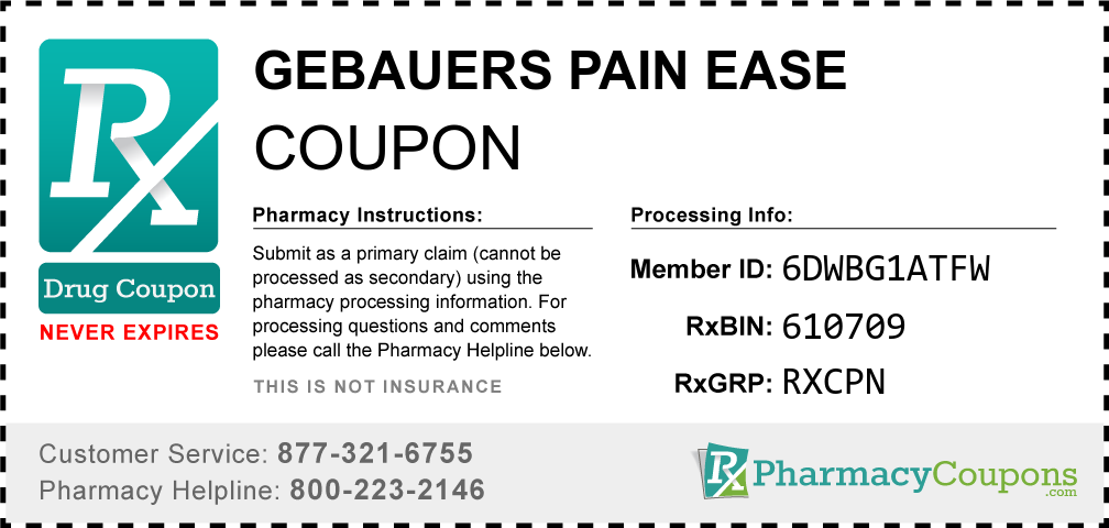 Gebauers pain ease Prescription Drug Coupon with Pharmacy Savings