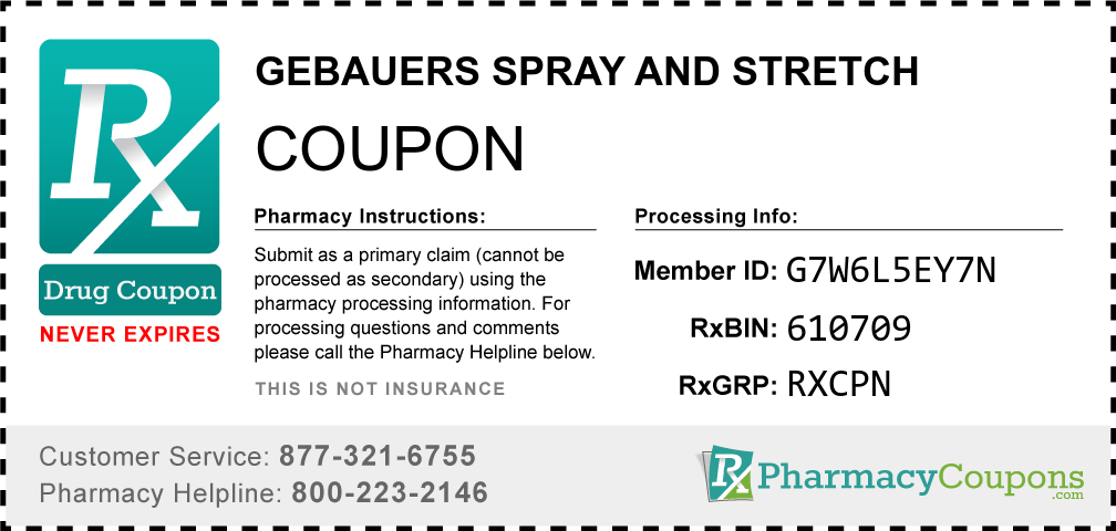 Gebauers spray and stretch Prescription Drug Coupon with Pharmacy Savings