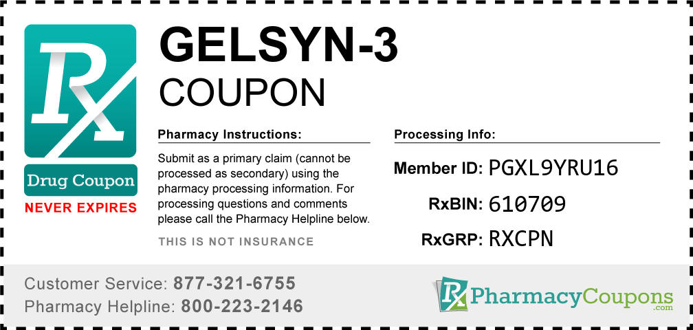 Gelsyn-3 Prescription Drug Coupon with Pharmacy Savings