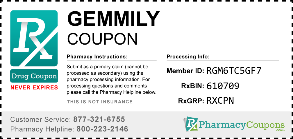 Gemmily Prescription Drug Coupon with Pharmacy Savings