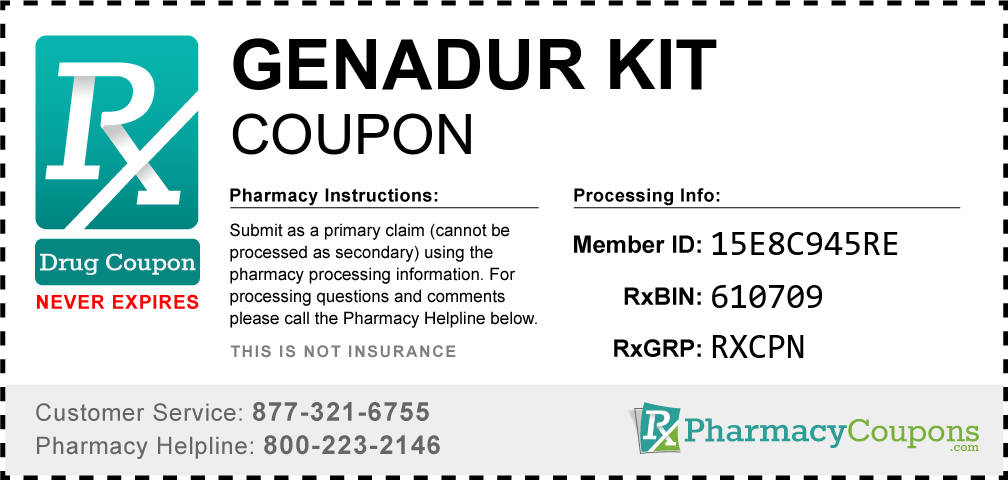 Genadur kit Prescription Drug Coupon with Pharmacy Savings