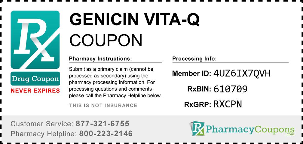 Genicin vita-q Prescription Drug Coupon with Pharmacy Savings