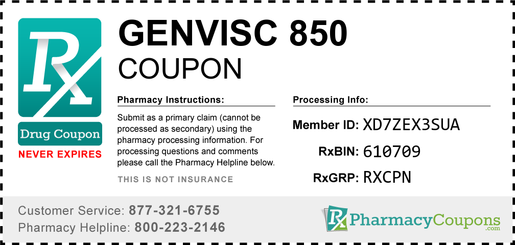 Genvisc 850 Prescription Drug Coupon with Pharmacy Savings