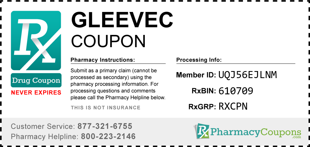 Gleevec Prescription Drug Coupon with Pharmacy Savings