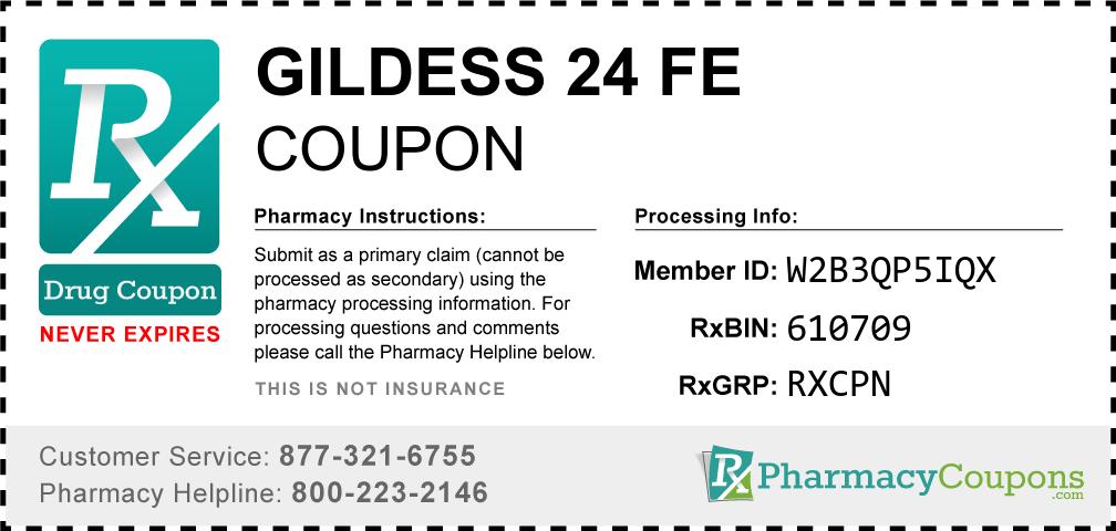 Gildess 24 fe Prescription Drug Coupon with Pharmacy Savings
