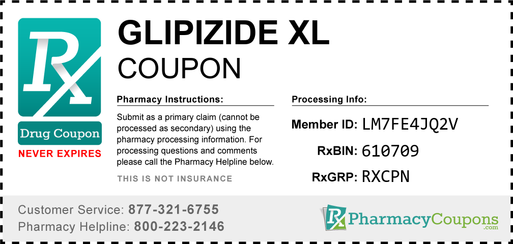 Glipizide xl Prescription Drug Coupon with Pharmacy Savings