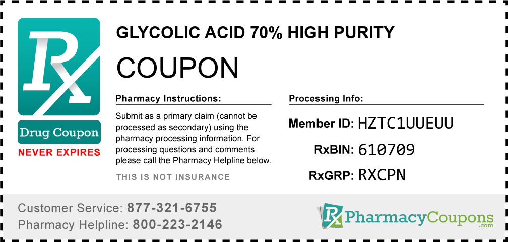 Glycolic acid 70% high purity Prescription Drug Coupon with Pharmacy Savings