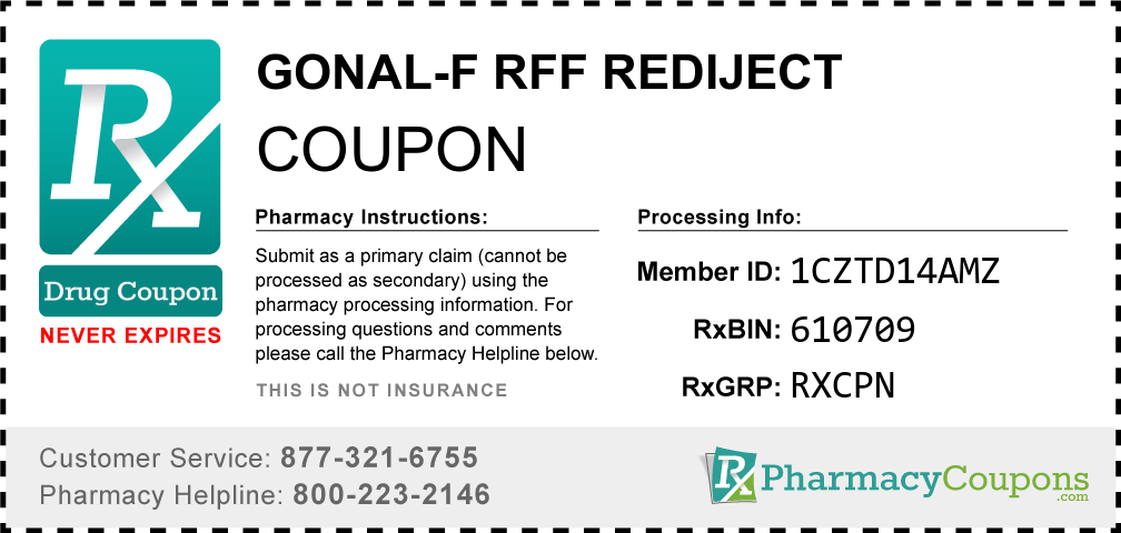 Gonal-f rff rediject Prescription Drug Coupon with Pharmacy Savings