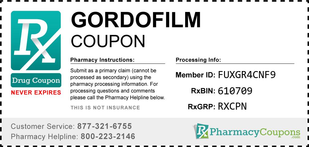 Gordofilm Prescription Drug Coupon with Pharmacy Savings