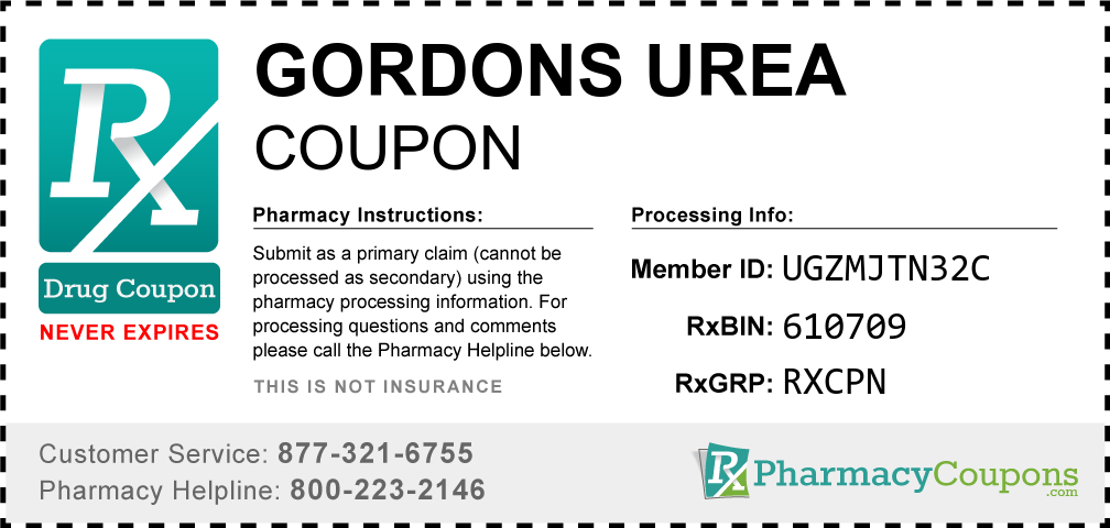 Gordons urea Prescription Drug Coupon with Pharmacy Savings