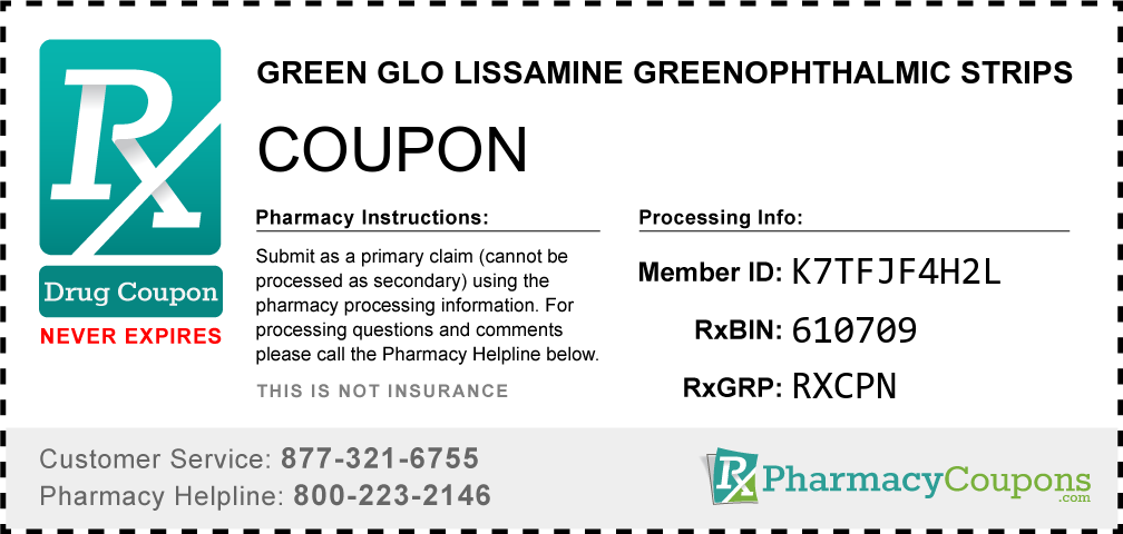 Green glo lissamine greenophthalmic strips Prescription Drug Coupon with Pharmacy Savings