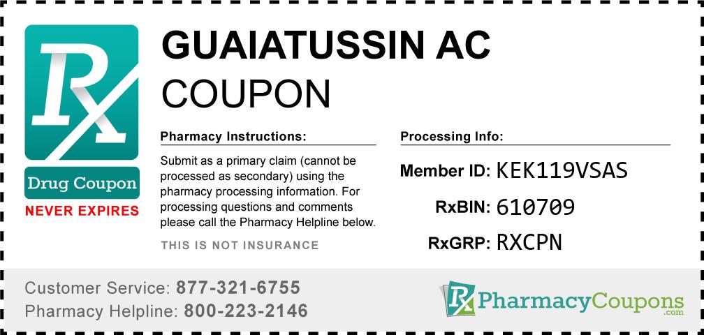 Guaiatussin ac Prescription Drug Coupon with Pharmacy Savings