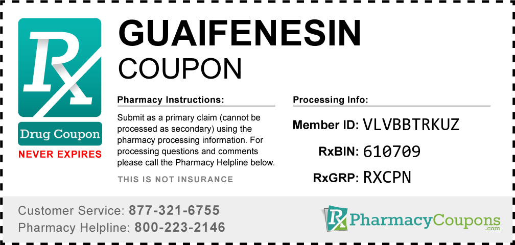 Guaifenesin Prescription Drug Coupon with Pharmacy Savings