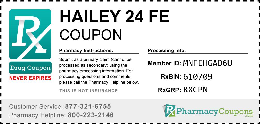 Hailey 24 fe Prescription Drug Coupon with Pharmacy Savings