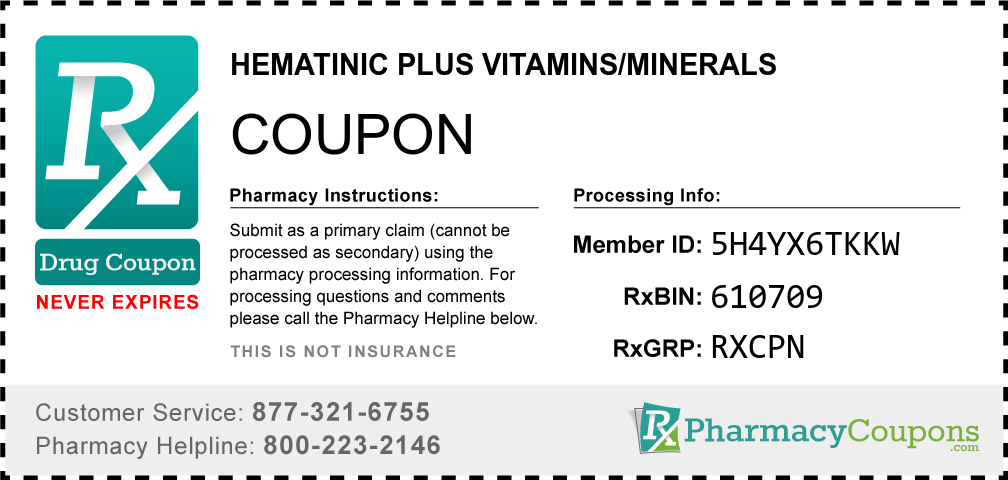 Hematinic plus vitamins/minerals Prescription Drug Coupon with Pharmacy Savings