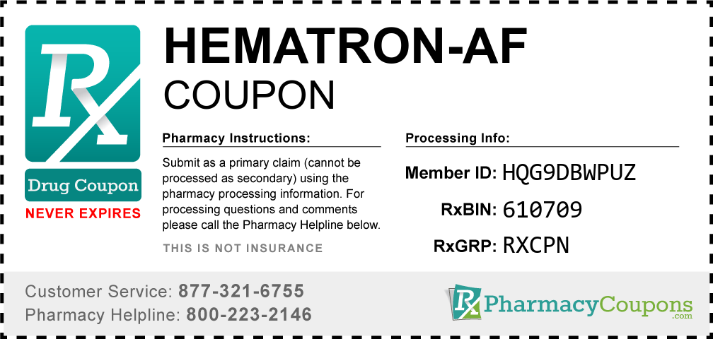 Hematron-af Prescription Drug Coupon with Pharmacy Savings