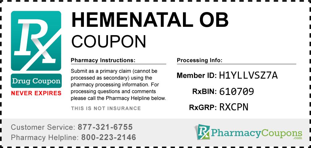 Hemenatal ob Prescription Drug Coupon with Pharmacy Savings