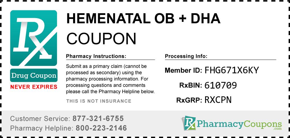Hemenatal ob + dha Prescription Drug Coupon with Pharmacy Savings