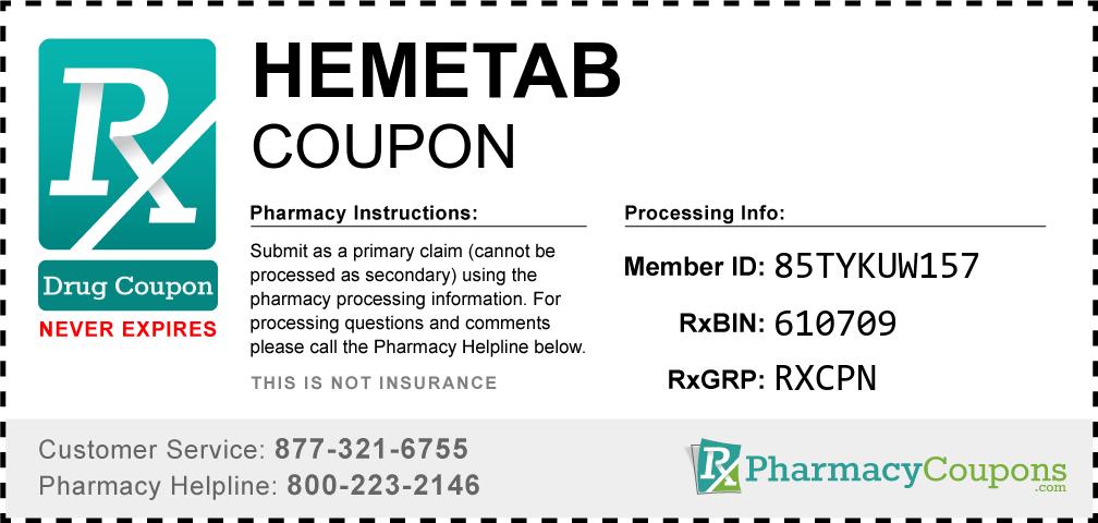 Hemetab Prescription Drug Coupon with Pharmacy Savings