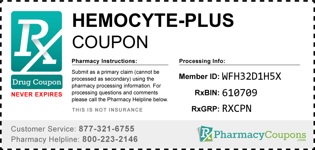 Hemocyte-plus Prescription Drug Coupon with Pharmacy Savings
