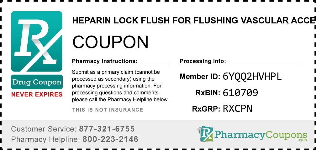 Heparin lock flush for flushing vascular access devices Prescription Drug Coupon with Pharmacy Savings