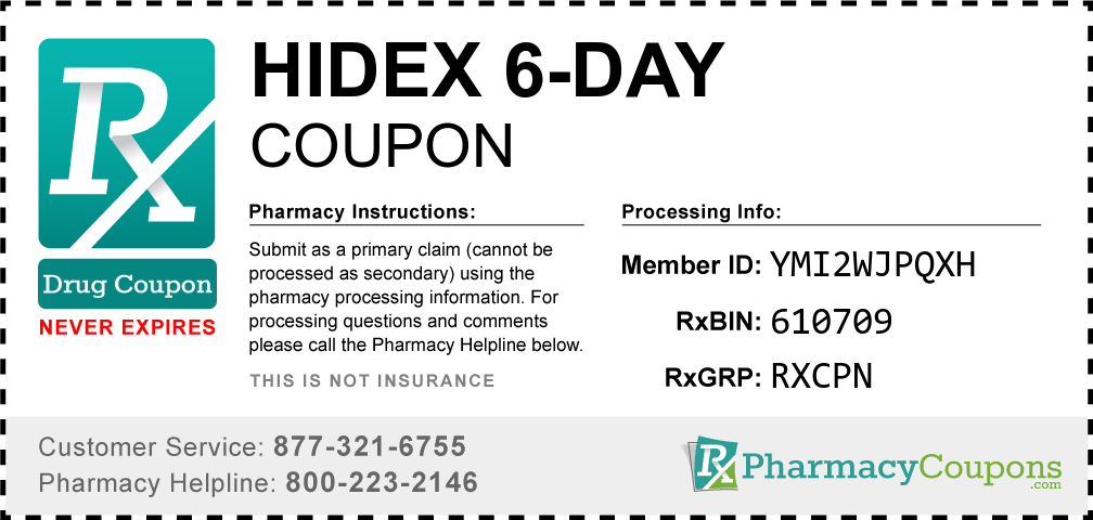Hidex 6-day Prescription Drug Coupon with Pharmacy Savings