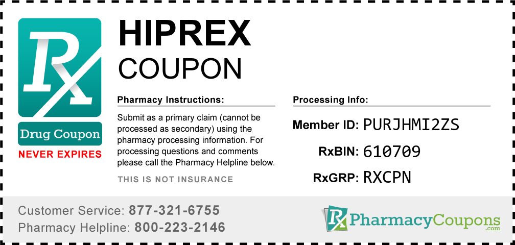 Hiprex Prescription Drug Coupon with Pharmacy Savings