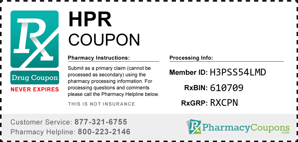 Hpr Prescription Drug Coupon with Pharmacy Savings
