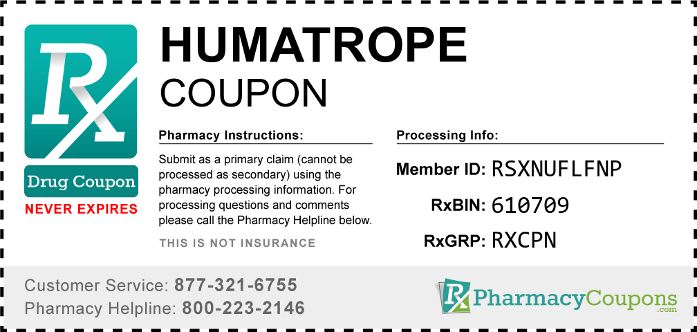 Humatrope Prescription Drug Coupon with Pharmacy Savings