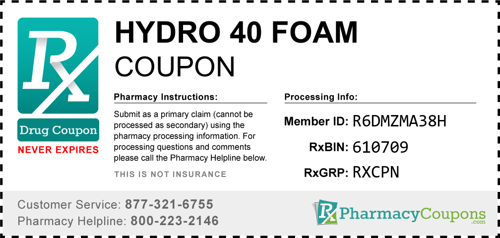 Hydro 40 foam Prescription Drug Coupon with Pharmacy Savings