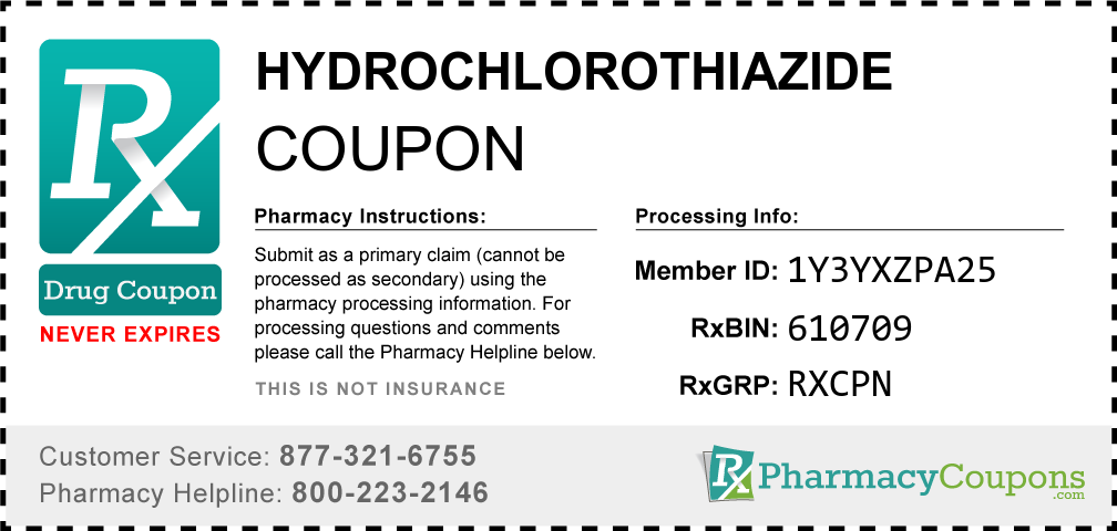 Hydrochlorothiazide Prescription Drug Coupon with Pharmacy Savings