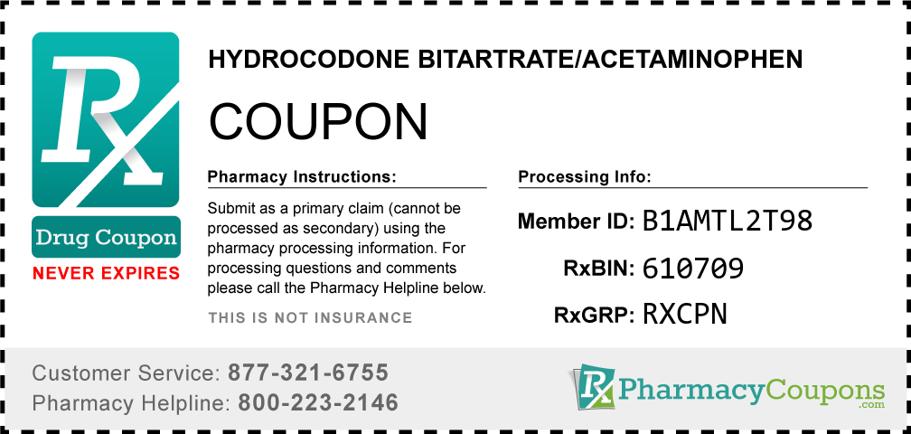 Hydrocodone bitartrate/acetaminophen Prescription Drug Coupon with Pharmacy Savings