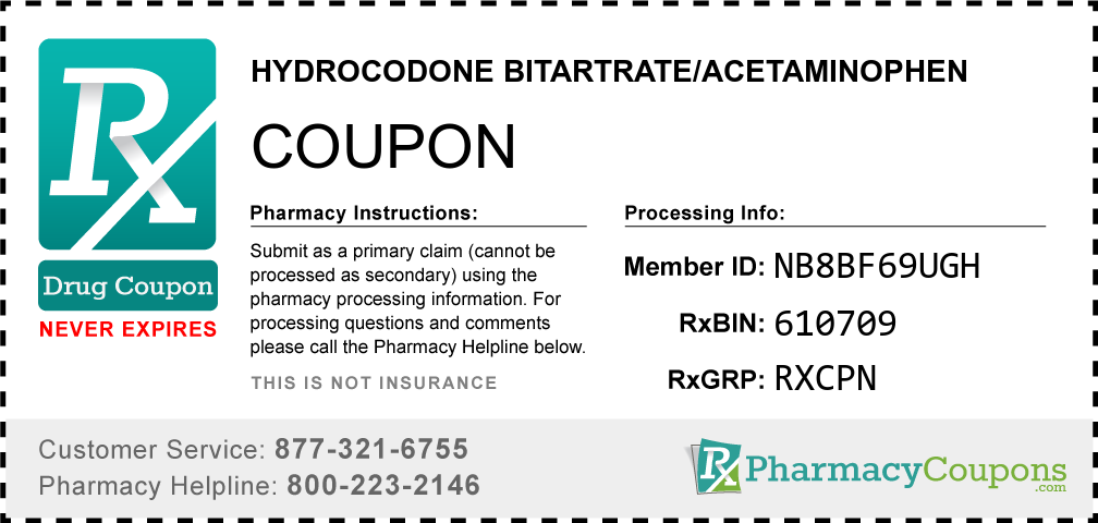Hydrocodone bitartrate/acetaminophen Prescription Drug Coupon with Pharmacy Savings
