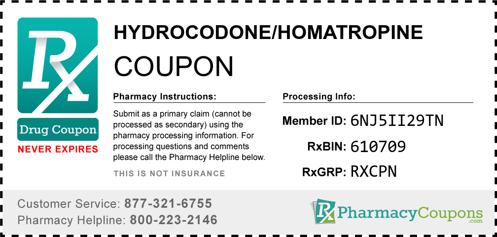 Hydrocodone/homatropine Prescription Drug Coupon with Pharmacy Savings