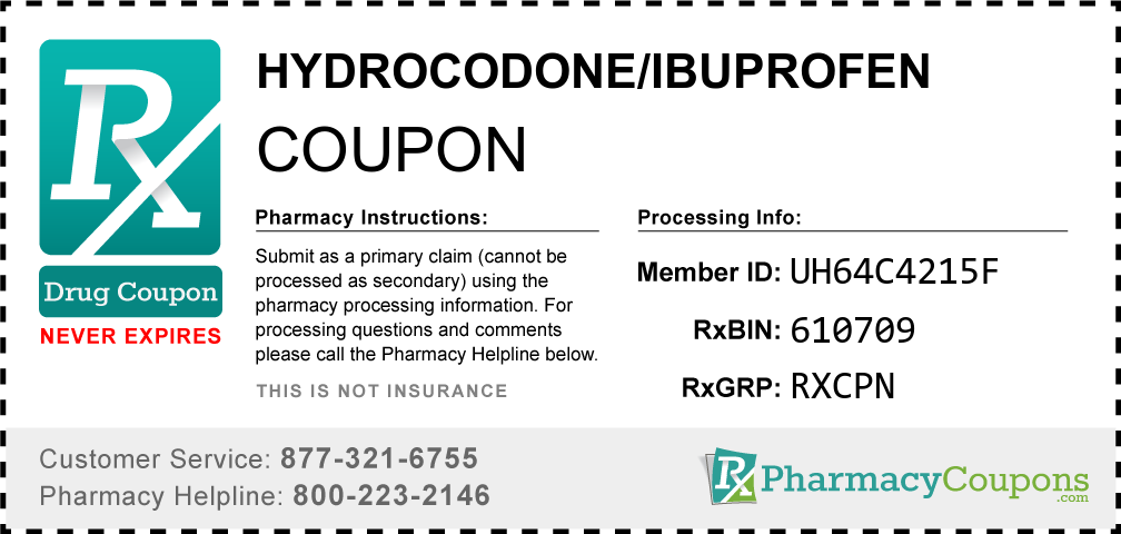Hydrocodone/ibuprofen Prescription Drug Coupon with Pharmacy Savings