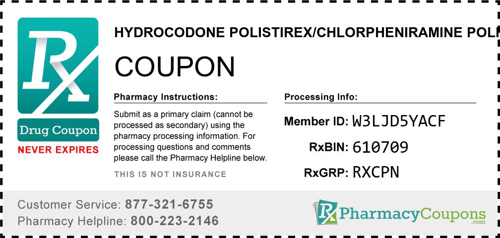 Hydrocodone polistirex/chlorpheniramine polistirex Prescription Drug Coupon with Pharmacy Savings