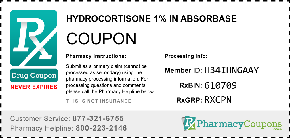Hydrocortisone 1% in absorbase Prescription Drug Coupon with Pharmacy Savings