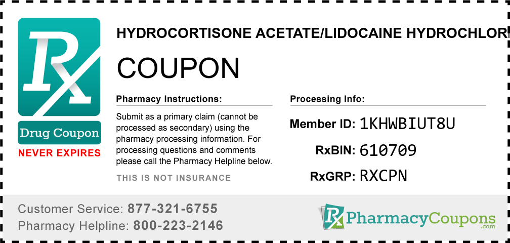 Hydrocortisone acetate/lidocaine hydrochloride Prescription Drug Coupon with Pharmacy Savings