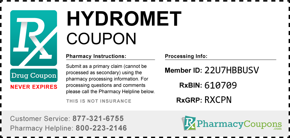 Hydromet Prescription Drug Coupon with Pharmacy Savings