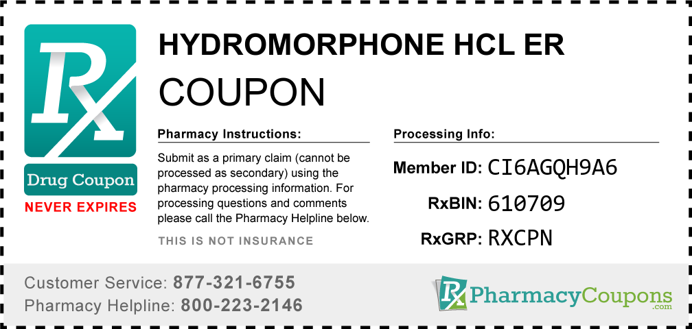 Hydromorphone hcl er Prescription Drug Coupon with Pharmacy Savings