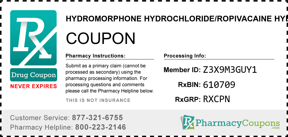 Hydromorphone hydrochloride/ropivacaine hydrochloride Prescription Drug Coupon with Pharmacy Savings