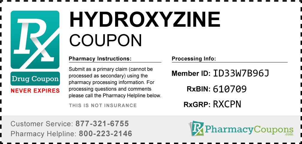 Hydroxyzine hydrochloride Prescription Drug Coupon with Pharmacy Savings