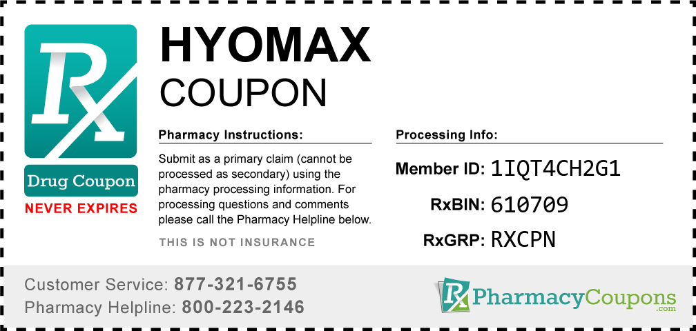 Hyomax Prescription Drug Coupon with Pharmacy Savings