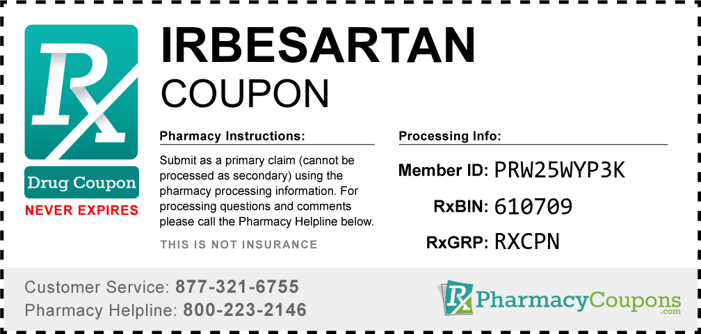 Irbesartan Prescription Drug Coupon with Pharmacy Savings