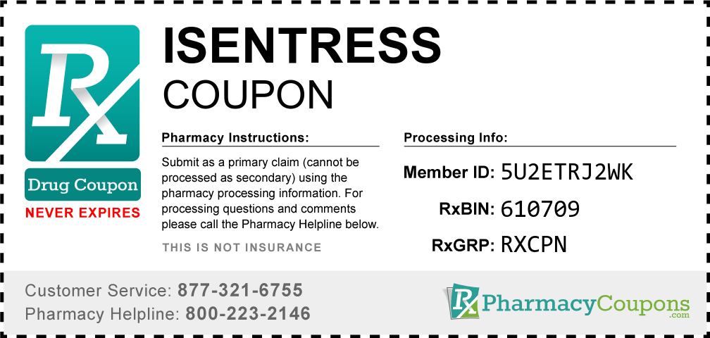 Isentress Prescription Drug Coupon with Pharmacy Savings